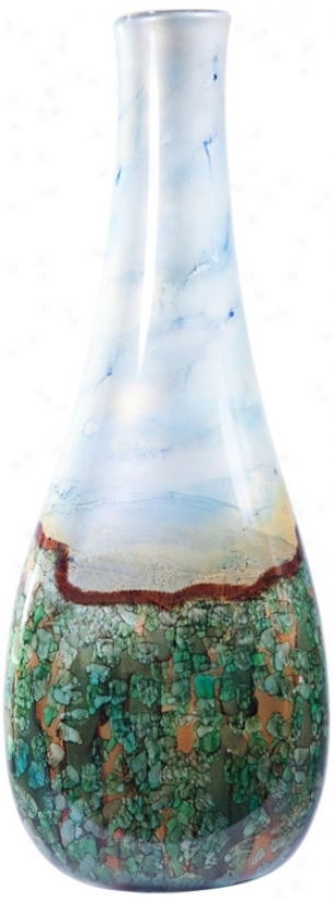 "Jardin Large 28"" High Triangle Decorative Glass Bottle (v2754)"