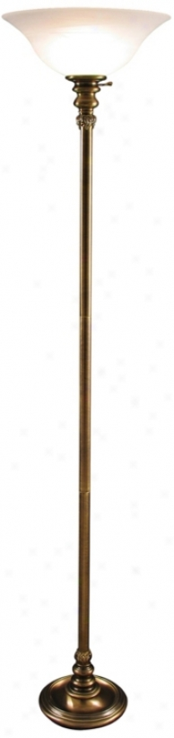 Jeanette Antique Brass Torchiere Floor Lamp (v0491)