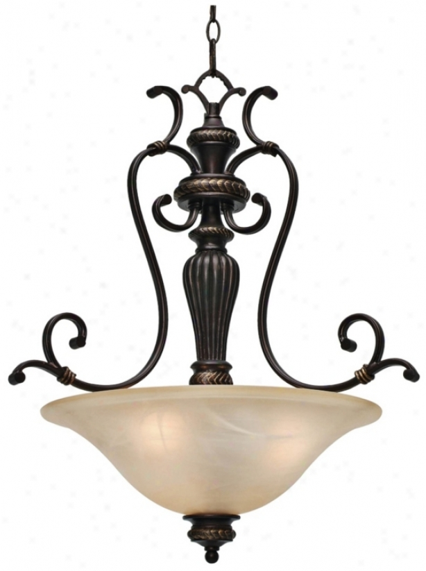 "Jefferson Etruscan Bronze 24"" Wide Bowl Pendant Chandelier (t1536)"