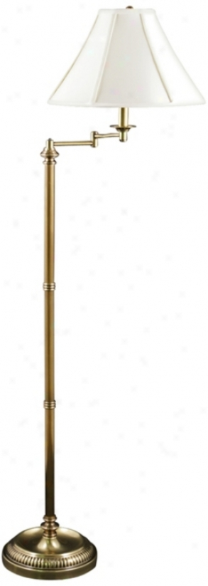 Jersey Brass Swing Arm Floor Lamp With Ivory Screen (v0472)
