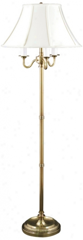 Jersey Polish Brass 4-light Floor Lamp With Ivory Bell Shae (v0474))