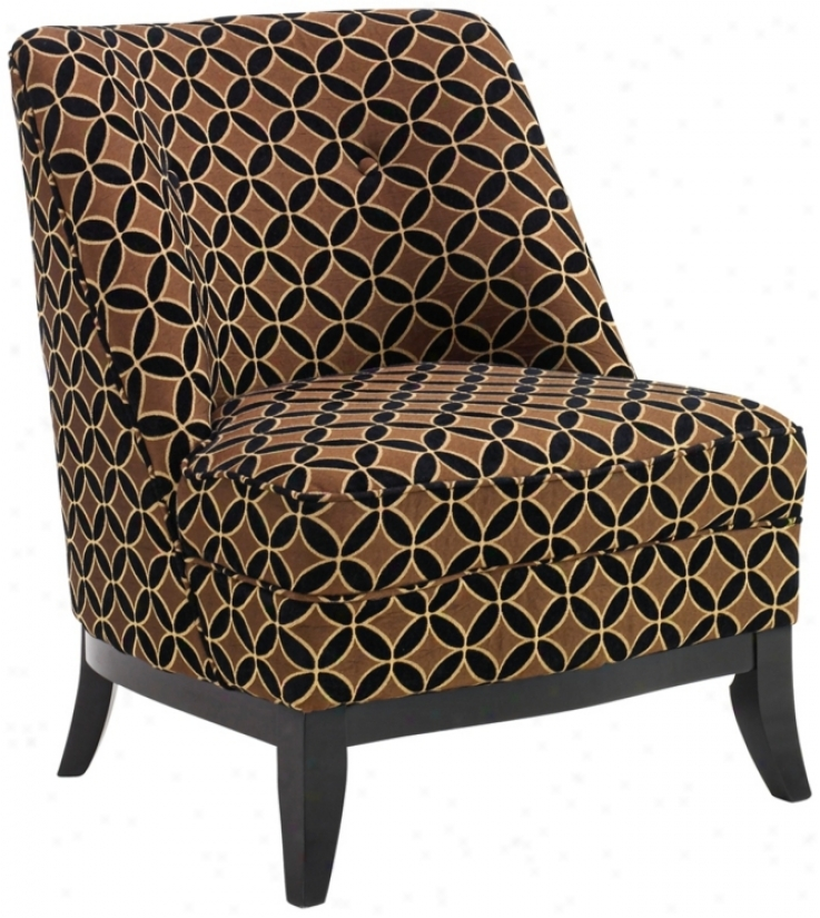 Jester Chocolate Gold Armless Club Chair (t3989)
