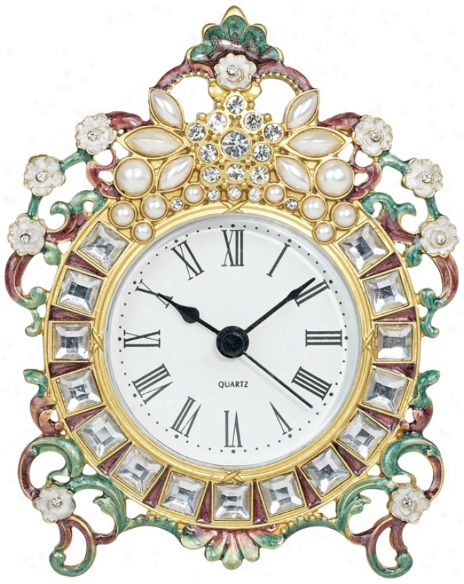 Jeweled Decorative Tabletop Clock (n7672)