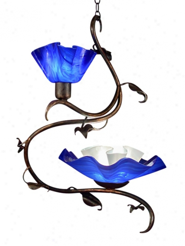 Jezebel 2-light Cobalt Blue Magnolia Swag Chandelier (73408)