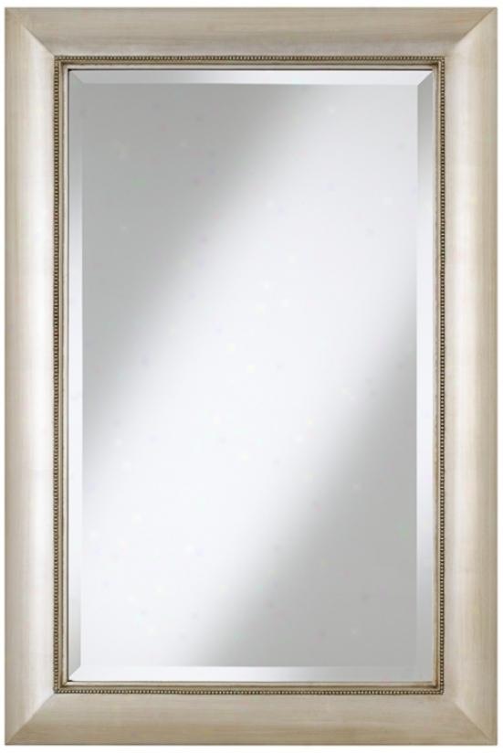 "Jocelyn Silver Beading 36"" High Rectangular Wall Reflector (t9045)"