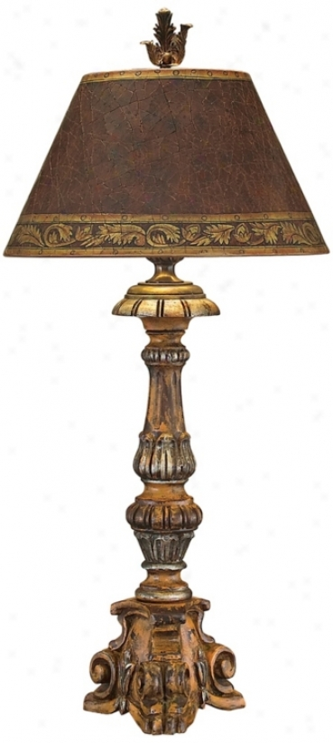 John Richard Hanf Carved Wood Candlestick Table Lamp (n8860)