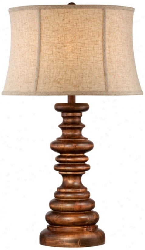 "John Timberland 31"" W0oden Candlestick Basis Table Lamp (2823)"
