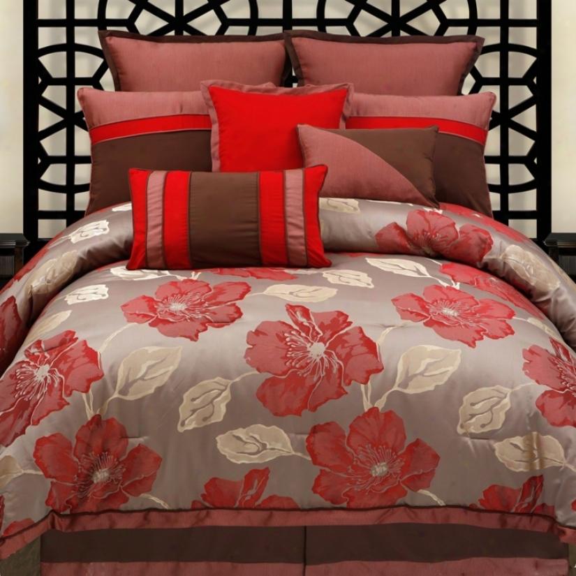 Joslin Scarlet Floral 9-piec Comforter Set (v3090)