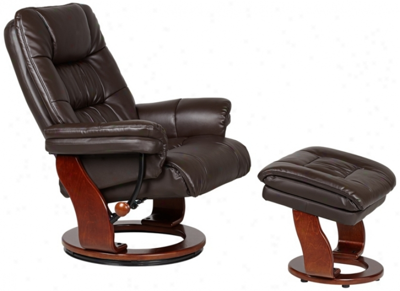 Julian Collection Brown Faux Leather Recliner With Ottoman (v0152)