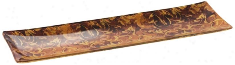 Julien Slender Gold And Brown Glass Serving Tray (v5160)