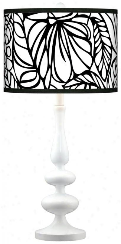 Jungle Moon Modern Lustre White Base Table Lamp (n5729-r109)
