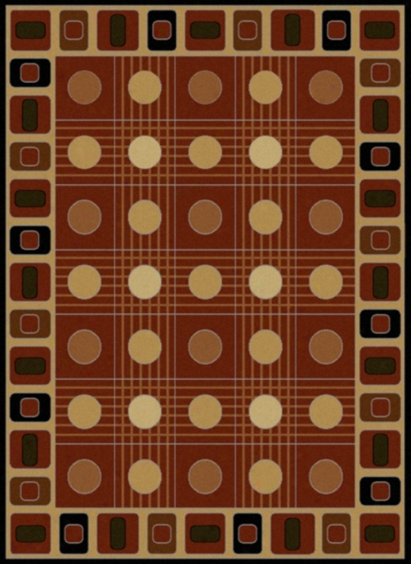 Kabe Checkerboard And Circle Auburn Rug (j9696)