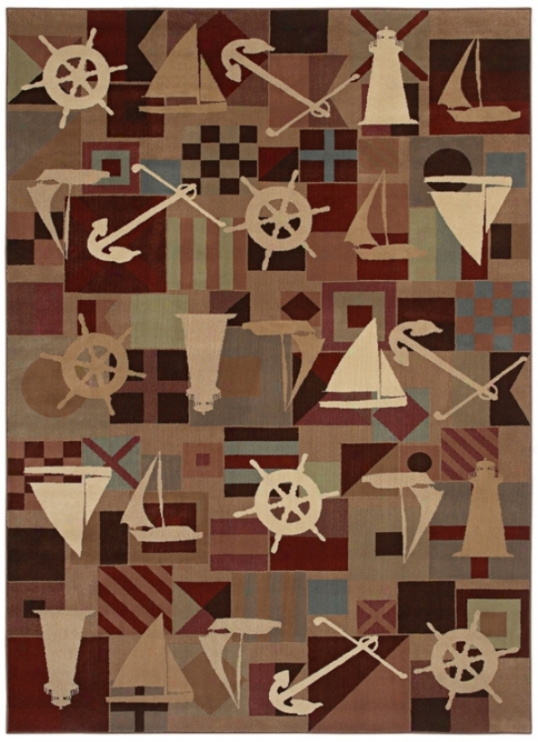 "Kathy Ireland Anchors Aweigh Brown 1'11""x3'2"" Area Rug (j7341)"