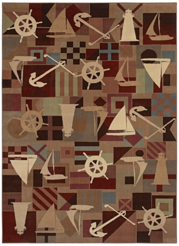 Kathy Ireland Anchors Aweigh Brown Multi Area Rug (j7340)