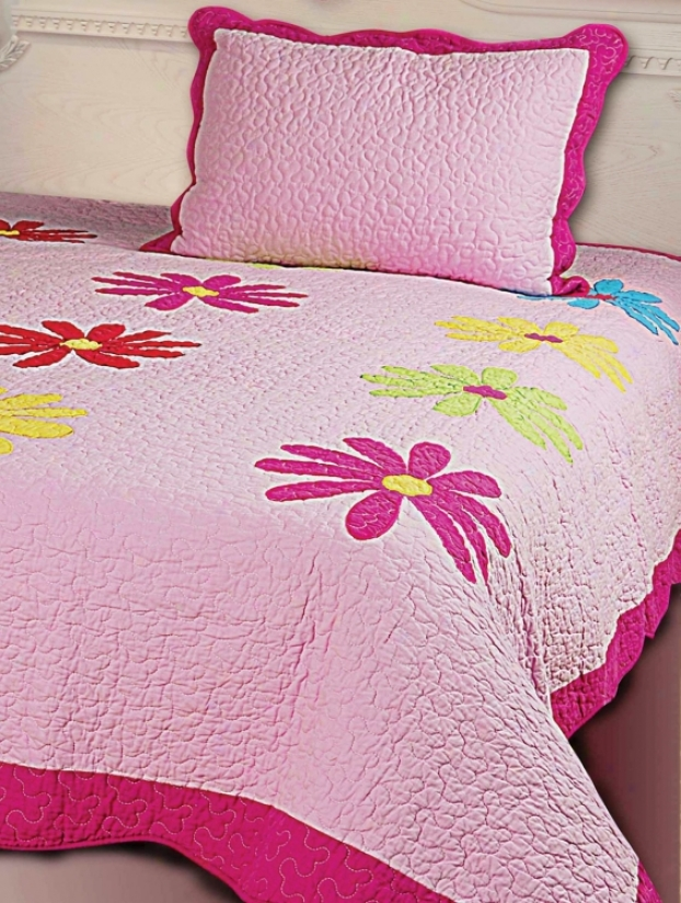 Kathy Ireland Daisy Crazy Two Piece Quult Bed Set (h3320)