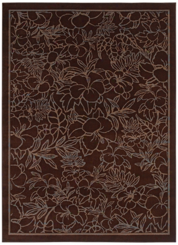 "Kathy Ireland Hibiscus Heaven Brown 3'11""x5'4"" Area Rug (j6922)"
