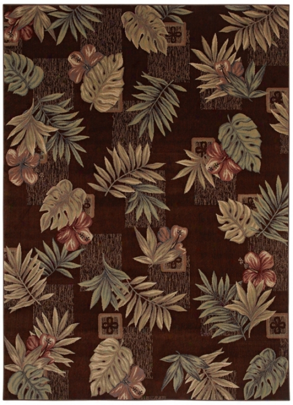 "Kathy Ireland Kauai Leaves Brown 1'11&qiot;x3'2"" Area Rug (n6943)"