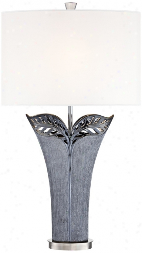Kathy Ireland Makena Grey Ceramic Table Lamp (u2813)