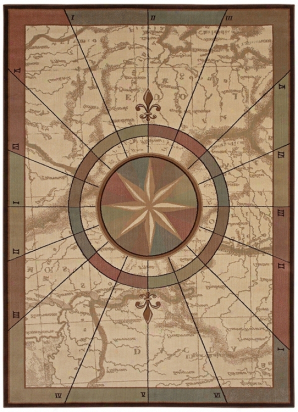 "Kathy Ireland Nautical Voyages Beige 1'11""x3'2"" Rug (j7478)"
