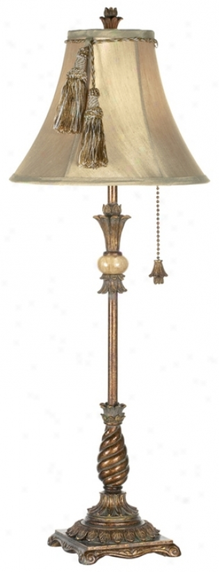 Kathy Ireland Onyx Splendor Candlestick Buffet Lamp (93671)