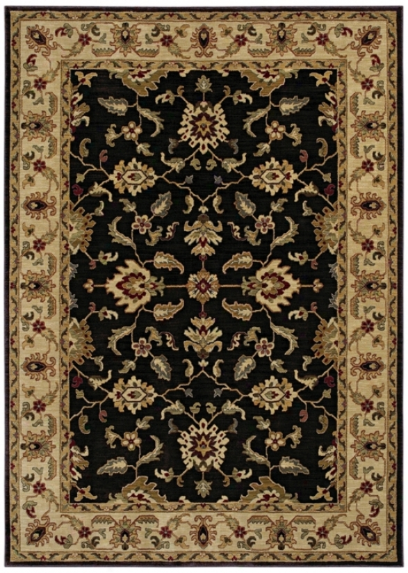 "Kathy Ireland Palace Retreat Black 3'6"" X 5' Area Rug (p2054)"