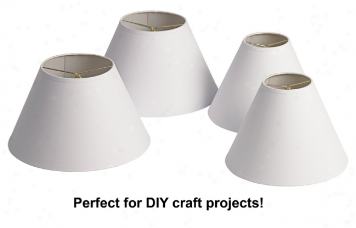 Kathy Ireland Set Of 4 White Paper Shades (clip-on) (49981)