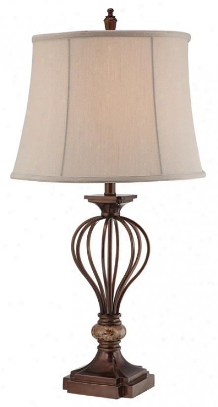 Kathy Ireland Villa Roma Open Cage Marble Accent Table Lamp (m1545)