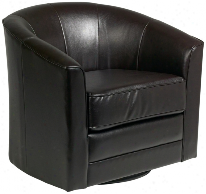 Keller Espresso Bonded Leather Swivel Tub Chair (r2965)