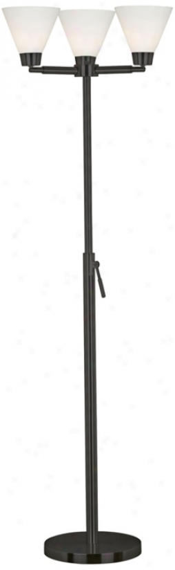 Kenroy Alturas Black Finish Three Light Torchiere Floor Lamp (r8193)