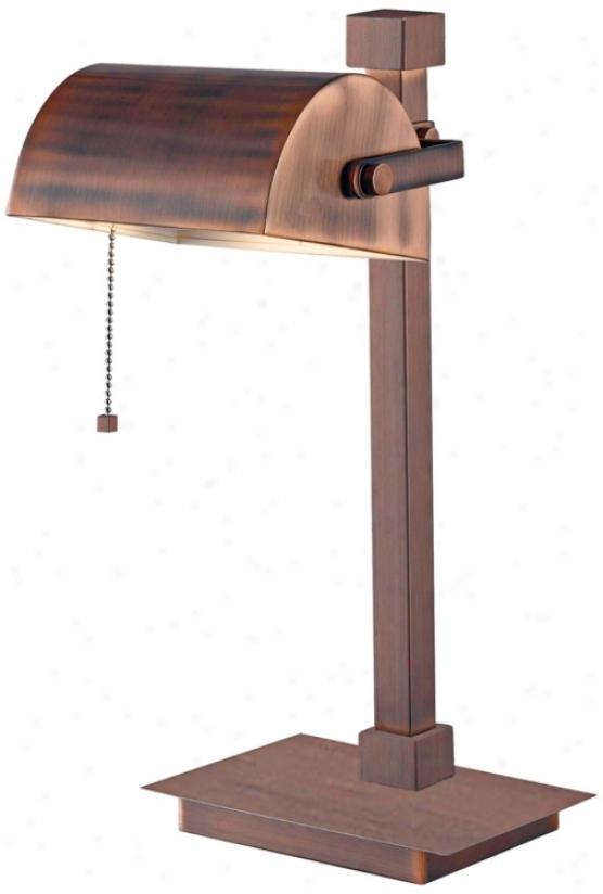 Kenroy Welker Copper Finish Banker Piano Desk Lamp (r8346)