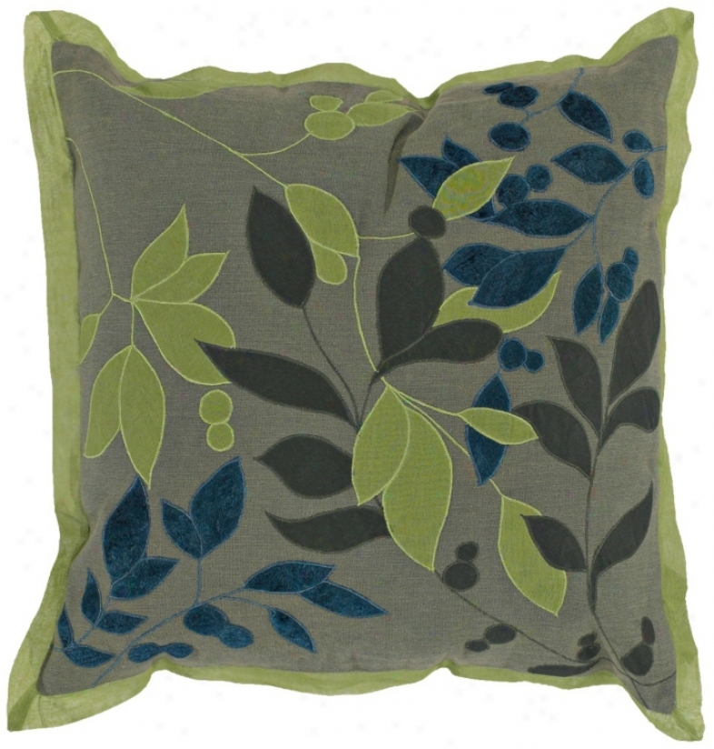 Khaki And Lime Leaves Pillow (h6751)