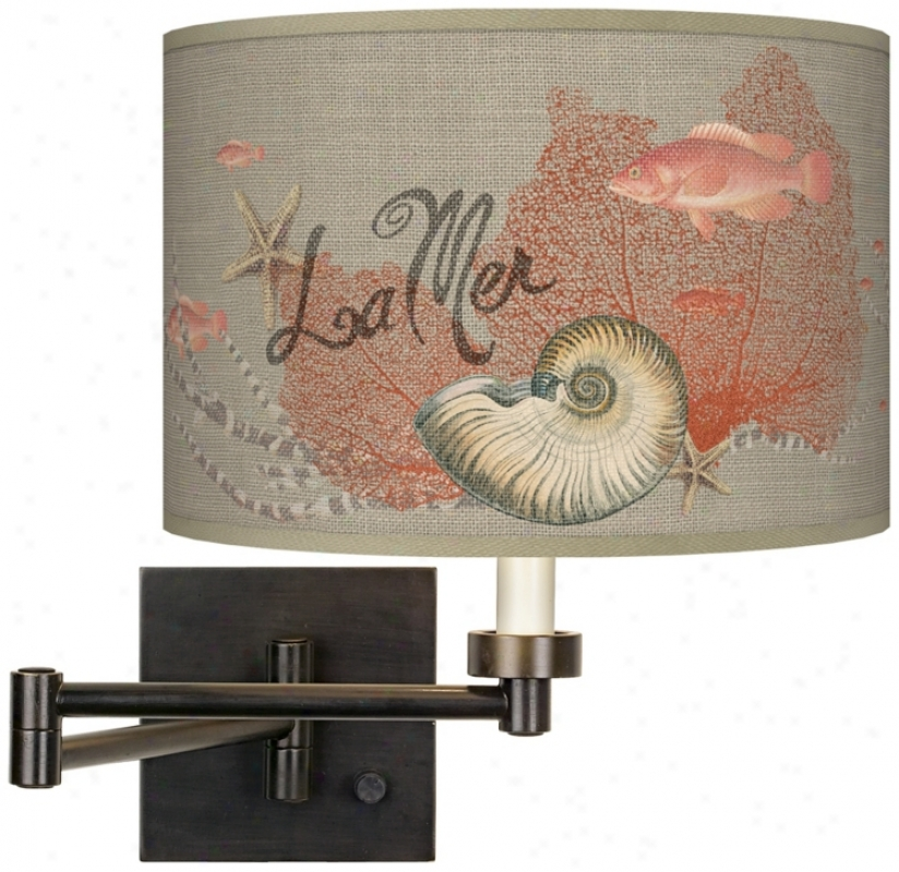 La Mer Seafan Giclee Dark Bronz Plug-in Swing Arm Wall Light (h6553-t9307)