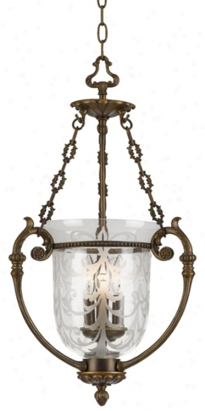 La Vella Antique Brass Three Light  Pendant Chandelier (26133)