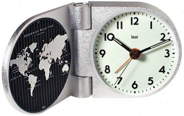 Landmark Solic Aluminum Greenwich Travel Alarm Clock (v8510)