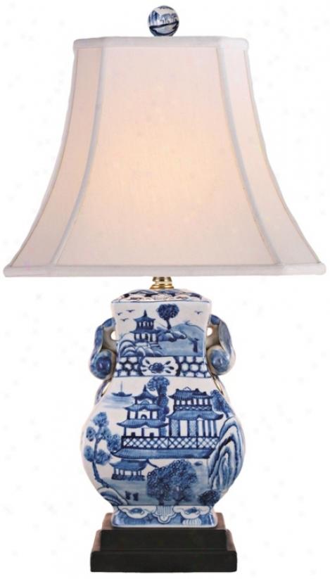 Landscape Blue And White Urn Poreclqin Table Lamp (v2490)
