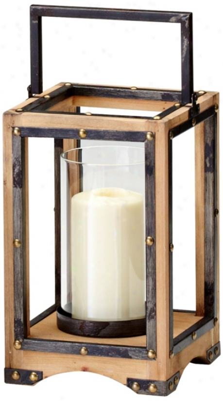 Large Aspen Iron And Natural Wood Candle Holder (v0518)