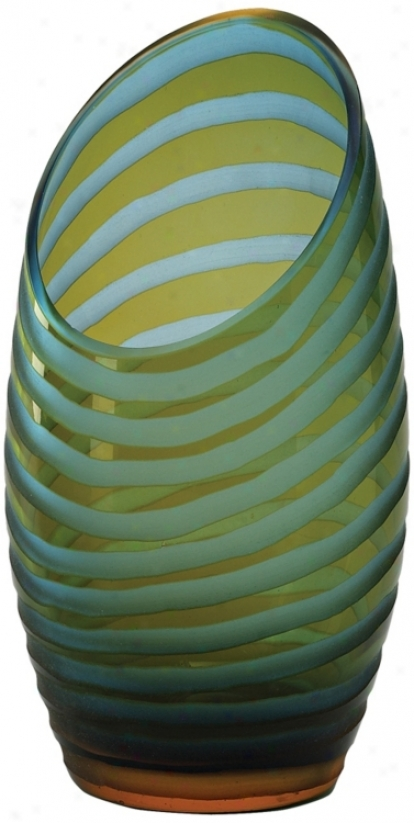 Large Blue And Orange Angle-cut Chiseled Glass Vase (j1452)