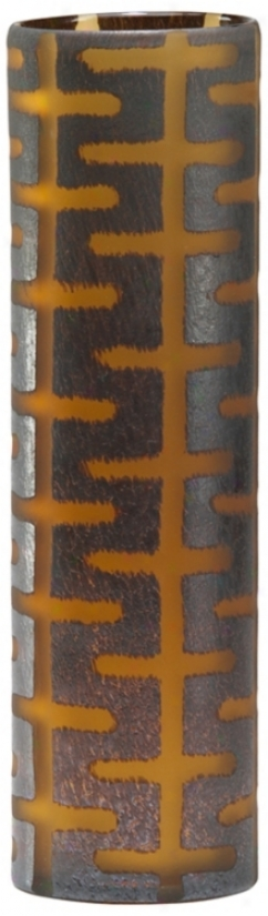 Large Brown Goass Graphic Vase (r0687)