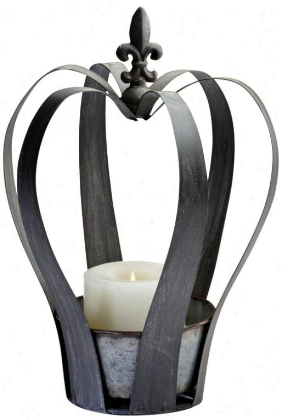 Large Crown Rusyic Gray Pillar Candle Holder (u7005)