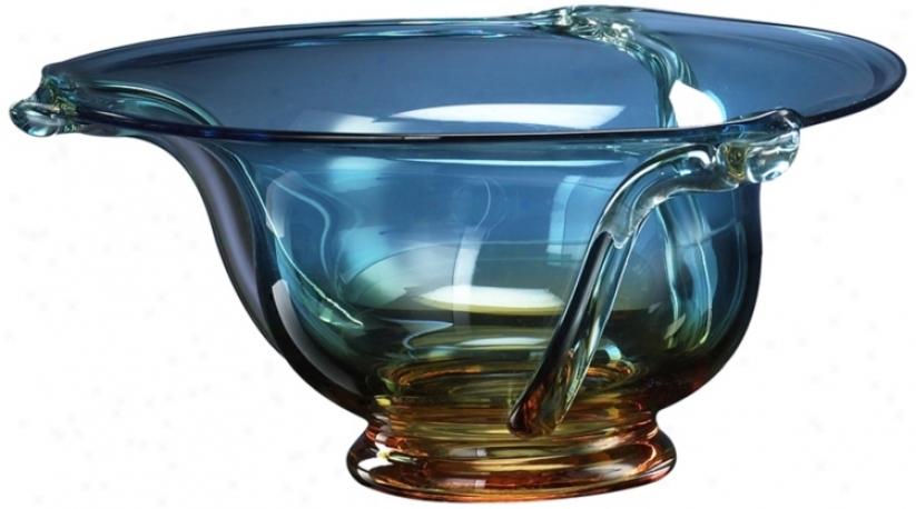 Large Cyan Blue And Orange Glass Bowl (j1454)
