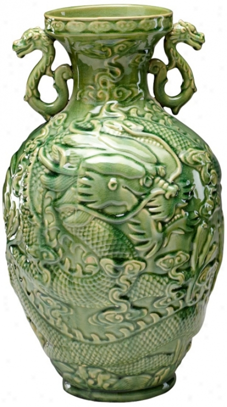 Comprehensive Green Apple Singapore Dragon Vase (v1502)