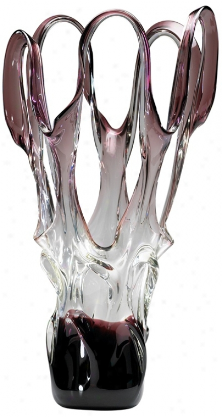 Large Italian Style Purple And Clear Art Glass Vase (v1357)