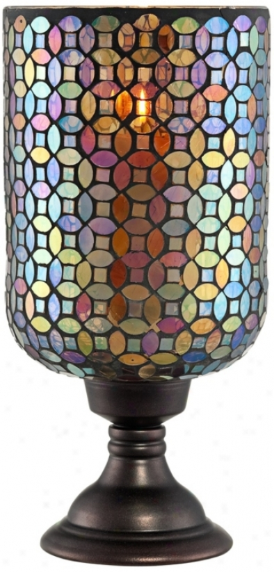 Largw Mosaic Glass Candle Holder (r9813)