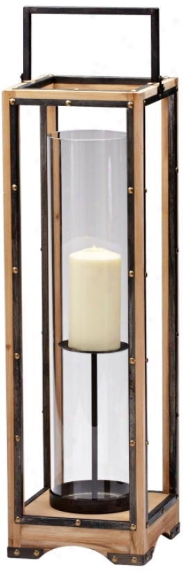 Large Ranger Iron And Natural Wood Candle H0lder (v0520)