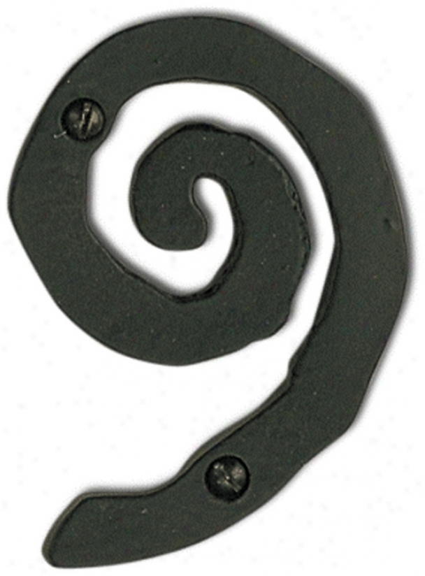 Large Scroll Black Finish House Number 9 (p3164)