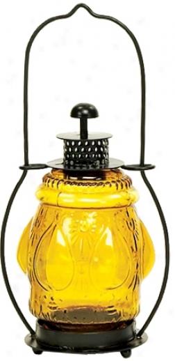 Lareg Golden Pressed Glass Lantern Candle Holder (u9838)