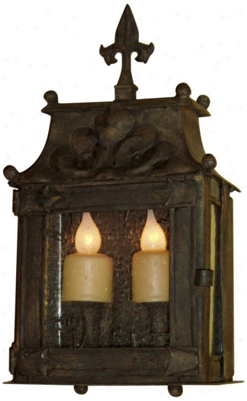 "Laura Lee Fleur De Lis 2-light 17 1/2"" High Wall Lantern (t3559)"
