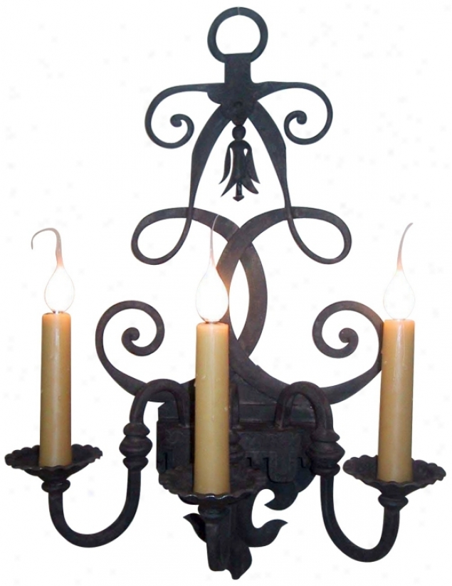 "Laura Lee Fleur De Lis 3-light 26"" High Wall Sconce (t3394)"