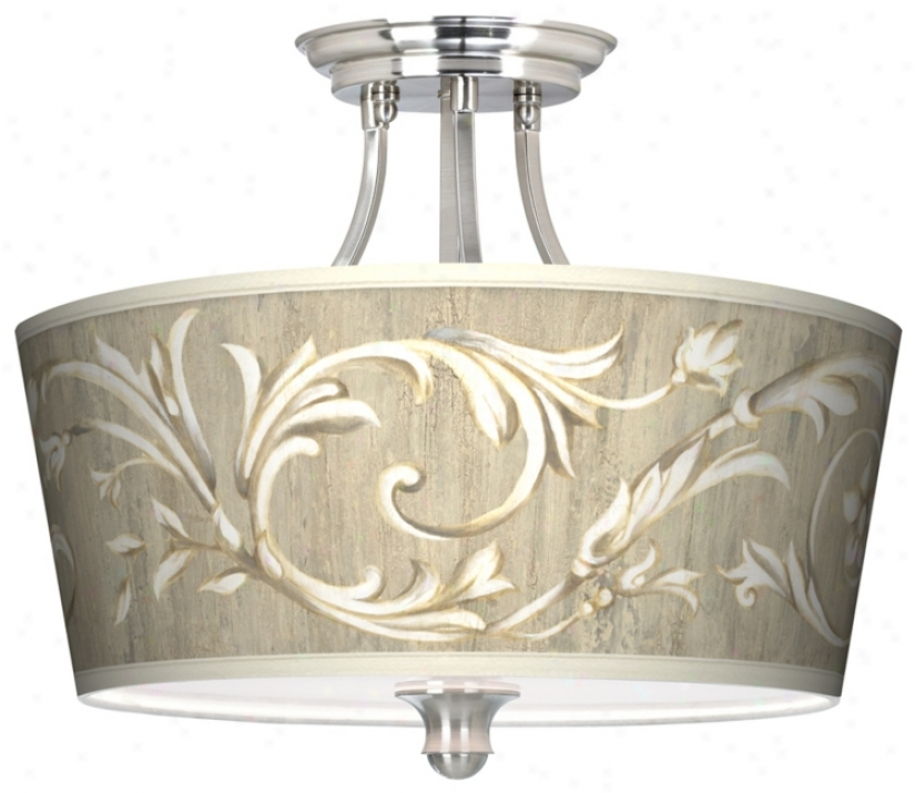 """Laurel Court Tapered Drum Shade 18"""" Wide Ceiling Light (m1074-t3782)"""