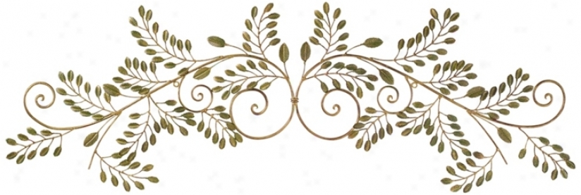 "Laurel Leaves Gold And Green 44"" Wide Metal Walll Decor (r3254)"